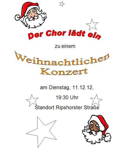 Der Chor lädt ein zu einem Weihnachtlichen Konzert